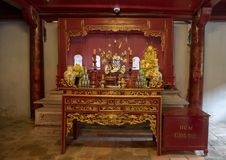 Altar in the Thượng Điện, where Confucius and his four closest disciples Yanhui, Zengshen, Zisi and Mencius are worshipped. Pictured is an royalty free stock photography