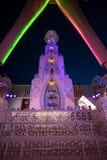 Altar Underneath The Man at Burning Man 2015. A night time shot of the altar underneath the Man at Burning Man 2015 stock image