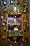 Altar of Virgin Catholic religion. Wooden background stock image