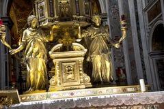 Altar von Sistine-Kapelle und Rhetorik der Geburt Christi in der Basilika von Santa Maria Maggiori in Rom Italien Lizenzfreie Stockfotos