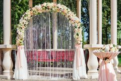 Wedding altar with flowers Royalty Free Stock Image