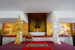 Altar in white and gold at Wat Long Khun Royalty Free Stock Photos