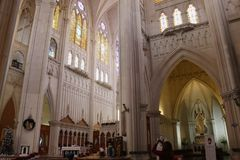 Altar and chapel of the eucharist in The Expiatory. Altar and chapel of the Eucharist inside the Expiatory temple. The Eucharist is over the table in the altar stock photos