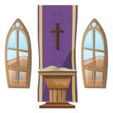 Altar y ventanas católicos, interior de la iglesia Foto de archivo