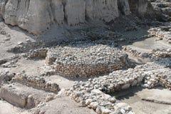 Altare antico, rovine del telefono Megiddo, Israele Fotografia Stock