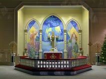 Altare av den Arvidsjaur kyrkan, Sverige arkivfoto