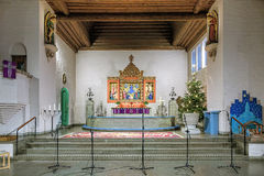 Altare av den Masthugg kyrkan (Masthuggskyrkan) i Göteborg, Sverige fotografering för bildbyråer