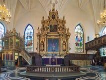 Altare av den tyska kyrkan i Stockholm, Sverige arkivfoton