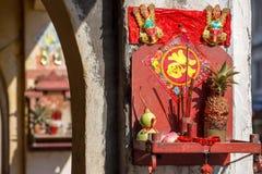 Altare buddista della viuzza, Penang, Malesia Fotografia Stock