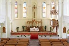 Altare in cattedrale luterana evangelica Fotografie Stock