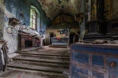 altare in chiesa abbandonata Fotografia Stock Libera da Diritti