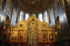 Altare in chiesa del salvatore su sangue in San Pietroburgo Immagine Stock