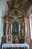 Altare in chiesa della nostra signora di neve in Kamensko, Croazia Fotografia Stock