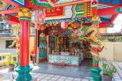 Altare cinese del tempio, tavola d'offerta Immagini Stock