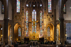 Altare dei Di Santa Croce della basilica a Firenze Fotografia Stock Libera da Diritti