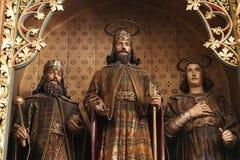 Altare dei san Stephen, Ladislaus e Emeric nella cattedrale di Zagabria Fotografie Stock