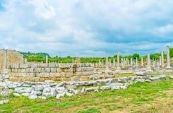 Altare del tempio di Tyche in Perge Fotografie Stock