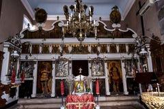 Altare della chiesa greco ortodossa nella vecchia città Corfù Grecia di Corfù Fotografia Stock