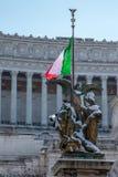 Altare della Patria angel statue detail. Snow covers Altare della Patria, Alter of the Fatherland, in Rome, Italy Royalty Free Stock Image