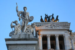 Altare della Patria eller Monumento Nazionale en Vittorio Emanuele II - detalj, Rome, Italien fotografering för bildbyråer