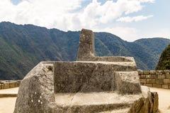 Altare di Intihuatana Machu Picchu, Cusco, Perù, Sudamerica Fotografia Stock