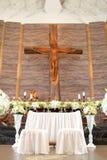 Altare di nozze nella chiesa Fotografia Stock