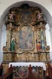 Altare di Saint Joseph nella chiesa di St Leonard di Noblac in Kotari, Croazia Fotografia Stock Libera da Diritti