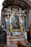 Altare di Santa Barbara nella chiesa di Barmherzigenkirche a Graz Immagine Stock Libera da Diritti