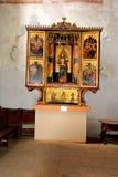 Altare di vecchia chiesa luterana medievale del sassone in Sighisoara, la Transilvania, Romania Fotografie Stock Libere da Diritti