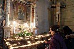 Altare di vergine Maria nella cattedrale di Zagabria Fotografia Stock
