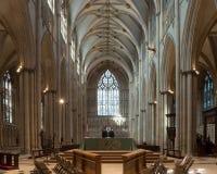 Altare di York Minster con la finestra ad ovest Fotografie Stock Libere da Diritti