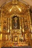Altare dorato Santa Iglesia Collegiata Madrid Spain della basilica Fotografie Stock
