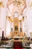 Altare e cattedrale interna del san vergine Maria a Minsk, Bela Immagini Stock Libere da Diritti