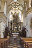 Altare fronte della chiesa dei ´s di St James in hora di Kutná Immagini Stock Libere da Diritti