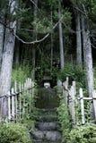 Altare giapponese in una foresta misteriosa fotografia stock