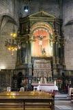 Altare nell'interno della cattedrale di Barcellona, Spagna Immagine Stock Libera da Diritti