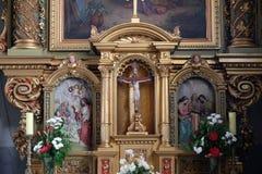Altare nella basilica del cuore sacro di Gesù a Zagabria Immagini Stock Libere da Diritti