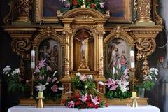 Altare nella basilica del cuore sacro di Gesù a Zagabria Fotografia Stock Libera da Diritti