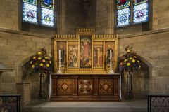 Altare nella cappella del ` s del salvatore della st, cattedrale di Norwich, Regno Unito Fotografie Stock
