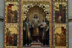 Altare nella cattedrale di Zagabria Fotografie Stock Libere da Diritti