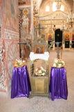 Altare nella chiesa del monastero dell'incrocio, Gerusalemme, Israele Immagine Stock