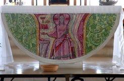 Altare nella chiesa della Camera di Peter, Capernaum Immagine Stock