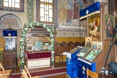 Altare nella chiesa della trasfigurazione del signore nel bulgaro Pomorie Fotografia Stock Libera da Diritti