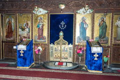 Altare nella chiesa della trasfigurazione nel centro di Pomorie in Bulgaria Fotografia Stock