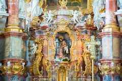 Altare nella chiesa di pellegrinaggio di Wies Vista interna La Baviera, Germania Fotografia Stock Libera da Diritti