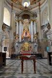 Altare nella chiesa, la città Krtiny, Moravia, repubblica Ceca, Europa Fotografie Stock Libere da Diritti