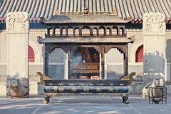 Altare nero ad un tempio del taoista, Pechino, Cina del ferro Fotografia Stock Libera da Diritti