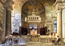 Altare principale, basilica di Santa Maria in Trastevere Fotografia Stock Libera da Diritti