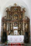 Altare principale in chiesa della nascita di vergine Maria in Svetice, Croazia Fotografia Stock Libera da Diritti