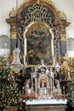 Altare principale, chiesa di Mariahilf a Graz Fotografia Stock